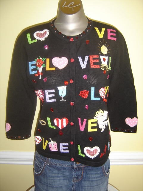 Womens Jack B Quick Valentine Love Cardigan Sweater S