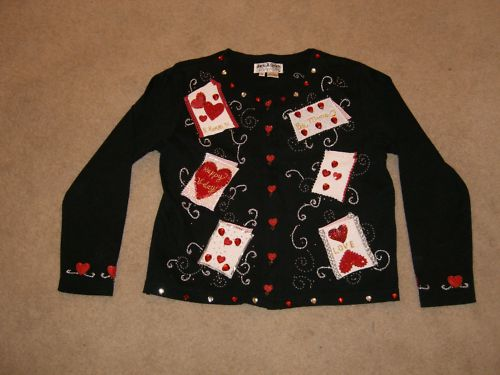 Women's Novelty Valentine's Sweater_Jacket Sz S