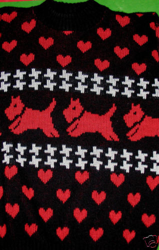 Womens Scotty Dog Valentines Day Sweater - Size S or M