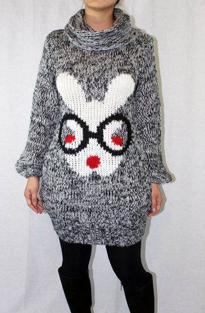 COZY GRAY KNIT Long BUNNY SWEATER Cute Rabbit S M L XL