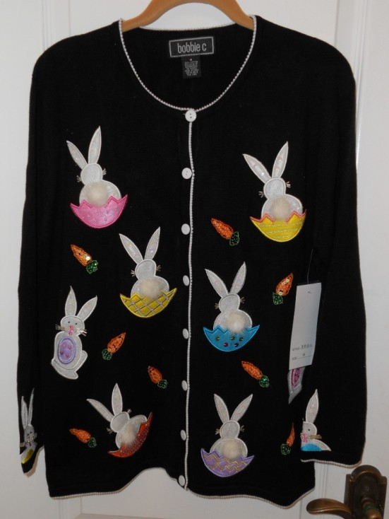Bobbie C. Easter Egg Bunny Sweater, Sz M, NWT!!