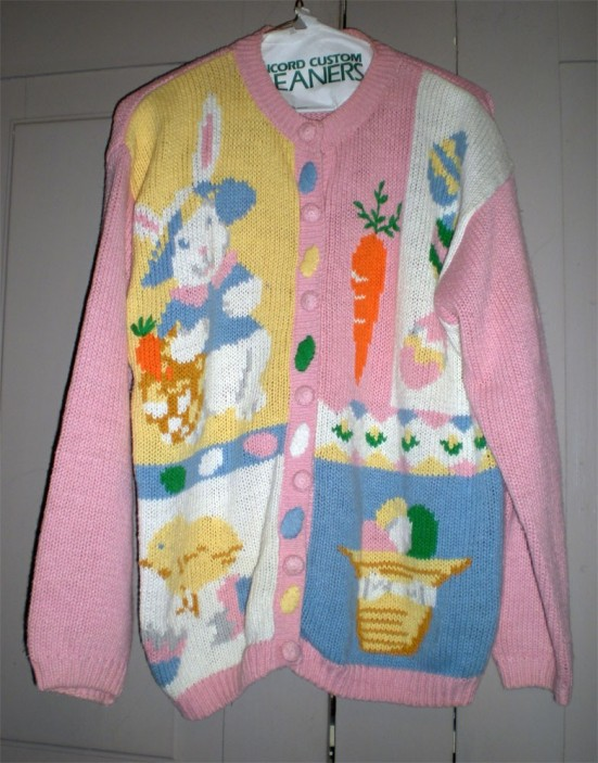 WOW Pink Easter Bunny Chick Theme Cardigan Sweater M ?