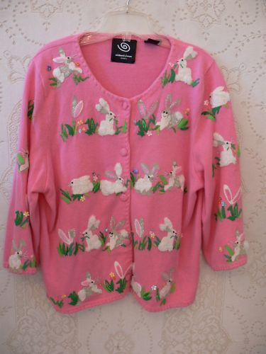 MICHAEL SIMON PRETTY PINK EASTER BUNNY SWEATER XL