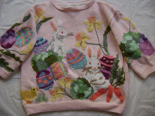 Berek S cotton sweater Easter bunny basket chicks eggs