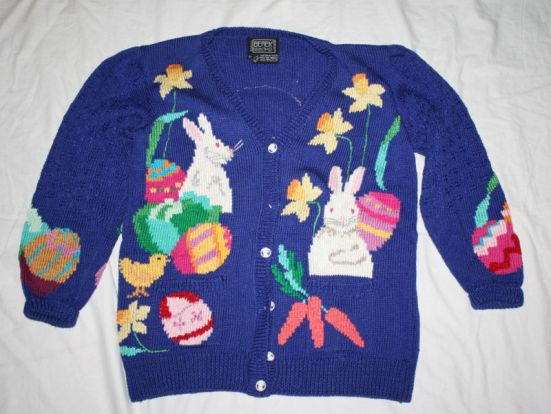 BEREK Easter Basket Bunny SWEATER Pima Cotton M Knit
