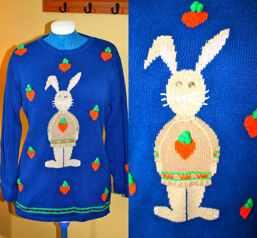 Quacker Factory Novelty Easter Bunny Sweater Cotton Tail Rabbit Lg~EUC