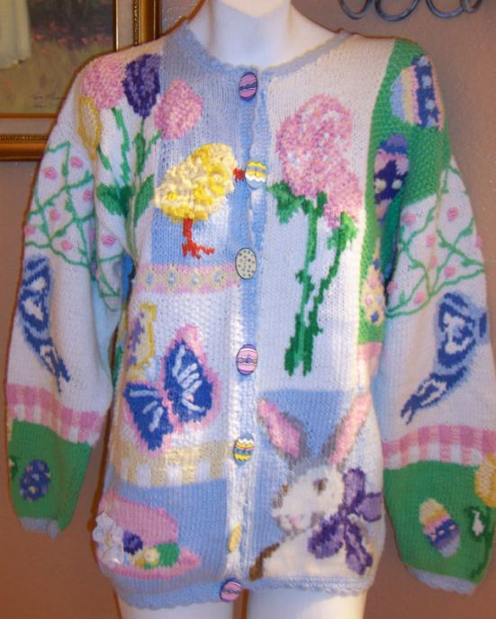 The Eagle's Eye Easter Bunny Chicks Cardigan Sweater M