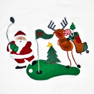 Golfing Santa Tacky Ugly Christmas Stretch Fitted Shirt Women's Size Large (L)