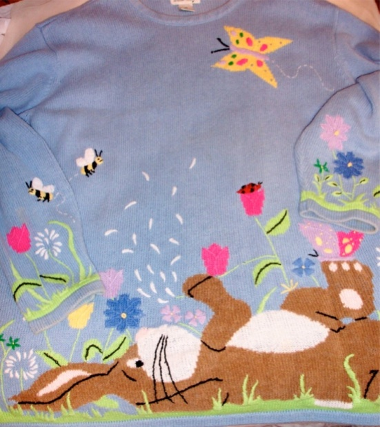 Quacker Factory Easter Bunny Sweater 2X