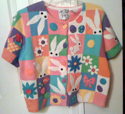 MICHAEL SIMON NEW YORK PINK EASTER BUNNY SWEATER, LARGE