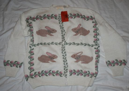 NWT NEW Unraveled Sweater Bunnies Easter M Cotton White