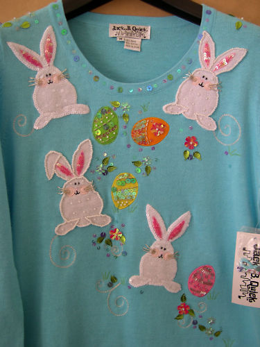 JACK B QUICK Easter BUNNY Eggs Sweater Boutique M Med