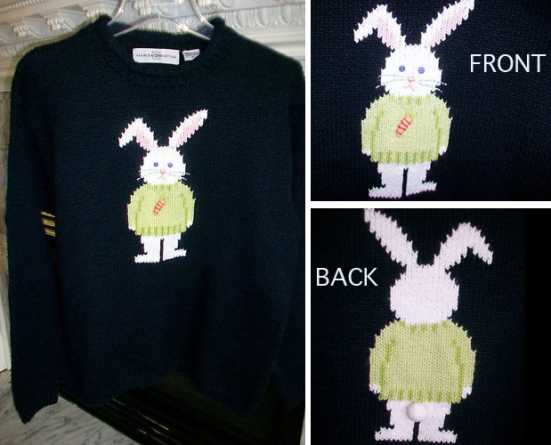 Marisa Christina womans navy Easter bunny sweater sz M