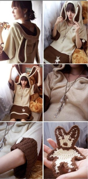 Cosplay Lolita Bunny Ear Sweater Dress/Hoodie/Jumper