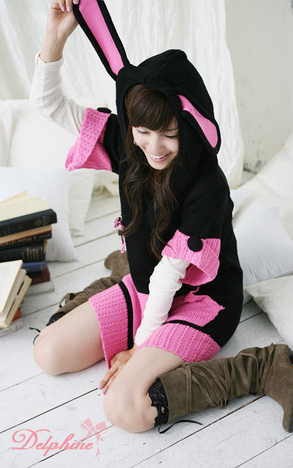 Cute Warm Cosplay Bunny Ear Sweater Dress/Long Top Pink