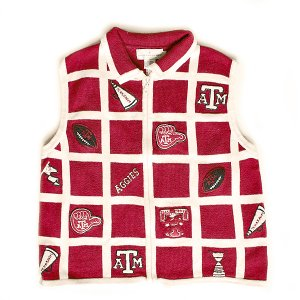 Texas A&M Gig'em Aggies Ugly Sweater Vest Women's Size Large (L)
