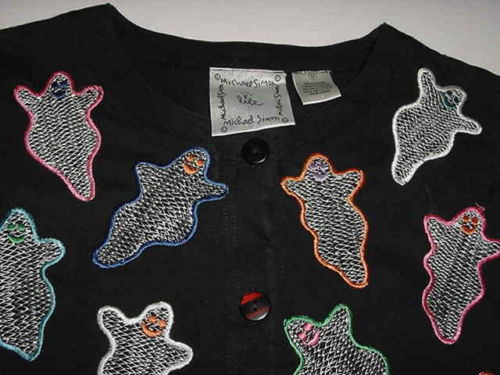 Black Michael Simon Lite Halloween Cardigan Sweater Cotton Ghosts M