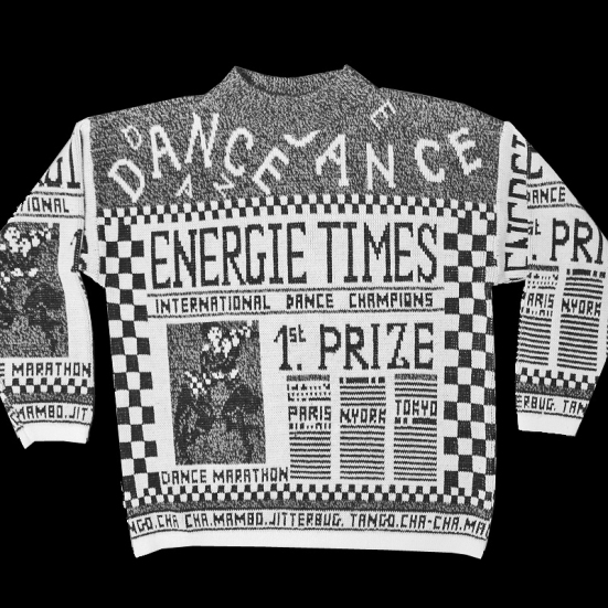 Vintage 80s Newspaper Tacky Ugly Dance Sweater Women's Size Medium (M)