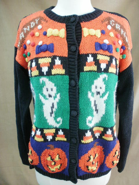 Karen Scott Fun Jack-O-Lantern & Ghost Halloween Sweater Size M