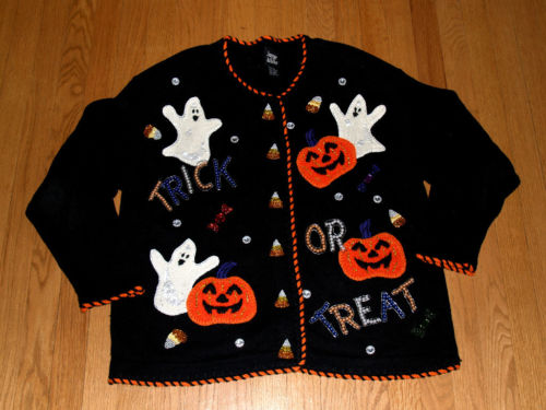 Ugly Halloween Sweater Ghosts Pumpkins Beaded Sequins Jacque & KoKo size 14_16