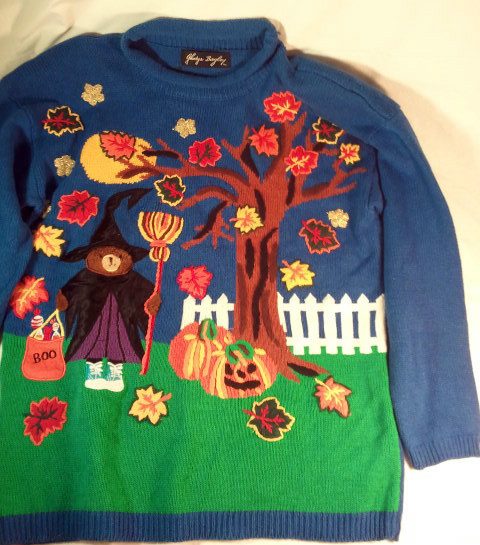 UGLY HALLOWEEN SWEATER glittery leaves! Teddy bear witch!! L Large