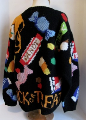 Vtg Hand Knit Eagle's Eye 1990 Halloween Sweater L