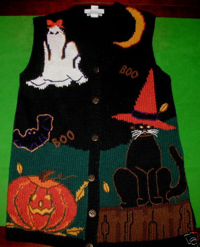 Women's Halloween Sweater Vest; Size Small