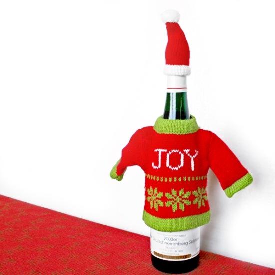 Tacky Ugly Christmas Sweater Wine Bottle Cover