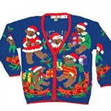 Santa Bear Vintage Chunky Knit Ugly Christmas Sweater