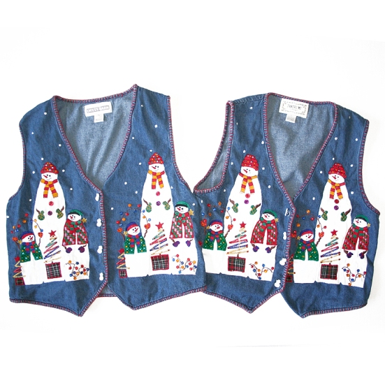 Matching Ugly Christmas Denim Vests