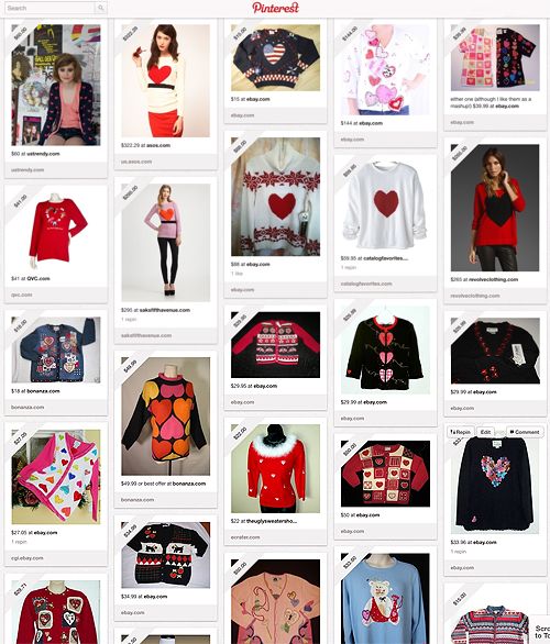 A collection of ugly Valentine's Day sweaters on Pinterest
